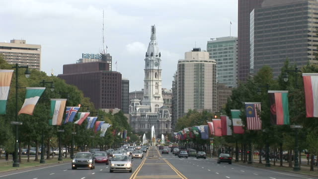 wide shot of old philadelphia city hall in philadelphia united states - william penn stock videos and b-roll footage