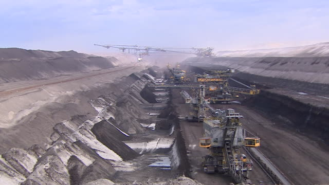 Wide shot of open cut coal mine in Germany