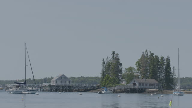 Wide shot of parking boats in Boothbay Harbor