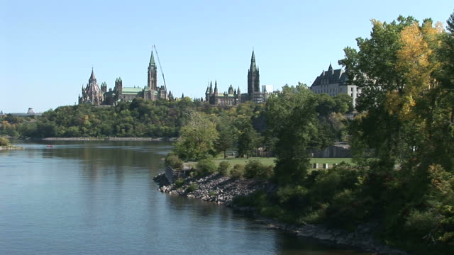 wide shot of parliament hill in ottawa canada - parliament hill stock videos & royalty-free footage
