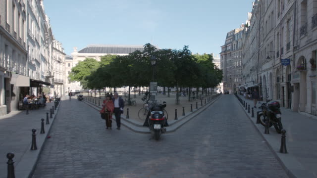 vidéos et rushes de wide shot of pedestrians walking through the place dauphine in paris, france - place