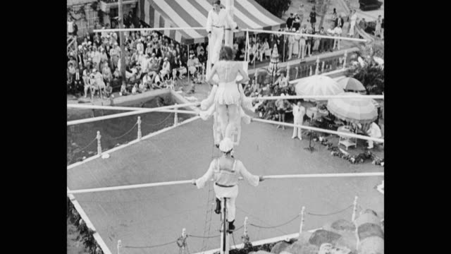 wide shot of performers performing on tightrope - tightrope walking stock videos & royalty-free footage