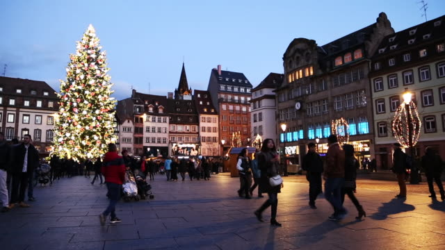 Wide shot of Place Kleber- the city square of Strasbourg, during the holidays