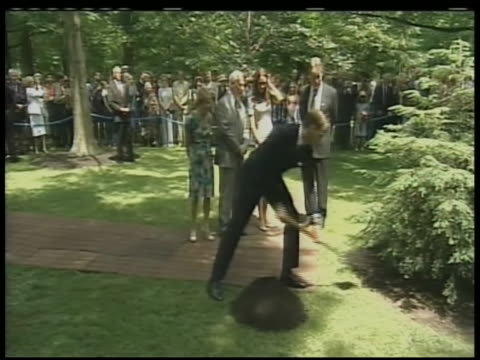 wide shot of prince william shoveling dirt onto a tree planted in his familyõs grove at rideau hall in ottawa, canada, that memorializes his love and... - ottawa stock videos & royalty-free footage
