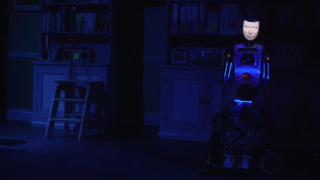 wide shot of robot actor robothespian 'powering down' during rehearsals for the play 'spillikin' which addresses issues around companionship during... - robot and human face stock videos & royalty-free footage