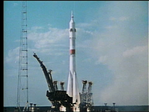 wide shot of rocket blasting off - 1975 stock videos & royalty-free footage