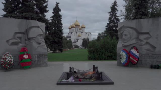 Wide shot of Russian war memorial