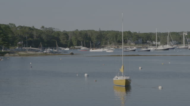 Wide shot of sail boats in Boothbay Harbor