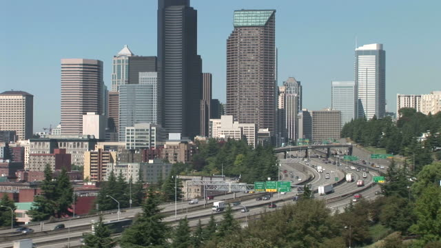 wide shot of seattle city united states - washington mutual tower stock videos & royalty-free footage