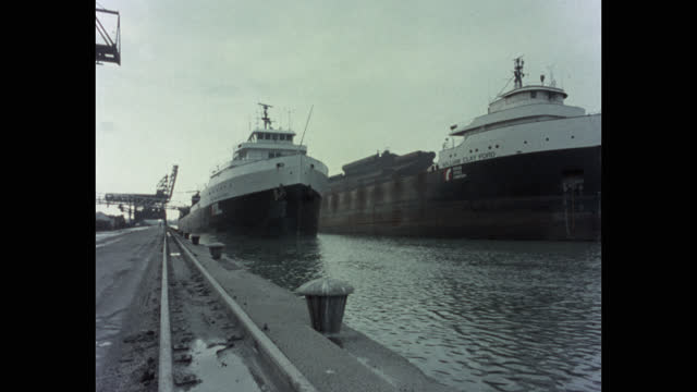 wide shot of ships moored at harbor, including the ss william clay ford, michigan, usa - anchored stock videos & royalty-free footage