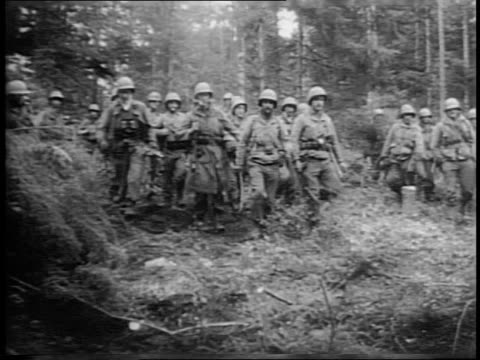 wide shot of soldiers hiding in forest / close up shot of japanese american soldiers on phone and moving through the woods / close up shots of troops... - battalion stock videos & royalty-free footage