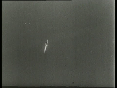 b/w 1965 wide shot of soviet rocket ascending in sky / sound - 1965 stock videos & royalty-free footage