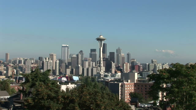 wide shot of space needle tower in seattle united states - washington mutual tower stock videos & royalty-free footage