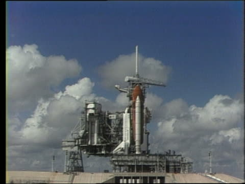 1988 wide shot of Space Shuttle Discovery on launch pad