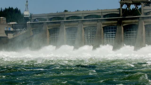 Wide shot of spillway Bonneville Dam
