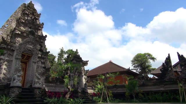 Wide Shot of Temple and Garden in Bali Indonesia