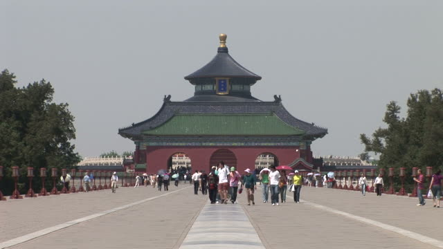 wide shot of temple of heaven in beijing china - temple of heaven stock videos & royalty-free footage