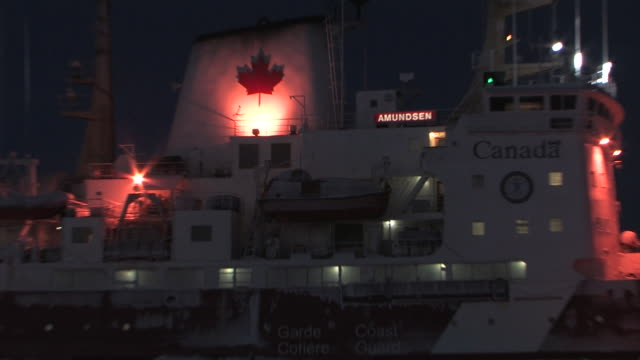 wide shot of the amundsen rigged for night in the arctic september 29 2008 – from the historic 17month expedition involving 250 scientists from 26... - antarctica night stock videos & royalty-free footage