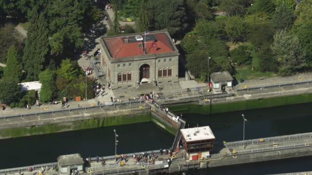 Wide shot of the Ballard Locks Administration Building