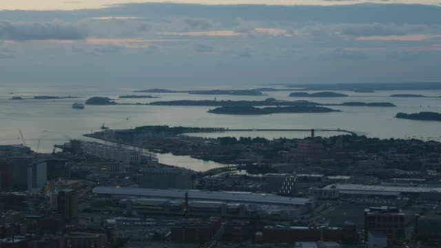 wide shot of the boston harbor islands with south boston in the foreground at dawn - castle island stock videos & royalty-free footage