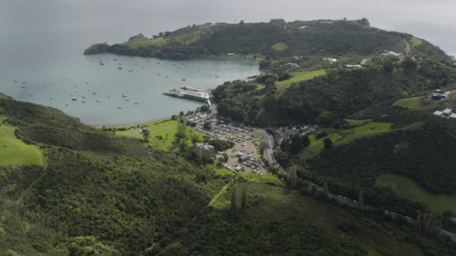 wide shot of the ferry terminal in the waiheke island - auckland ferry stock videos & royalty-free footage