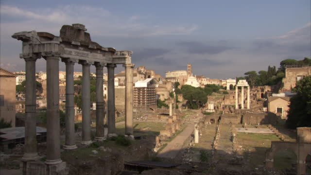 Wide shot of the Forum in Rome in the early evening, Italy.