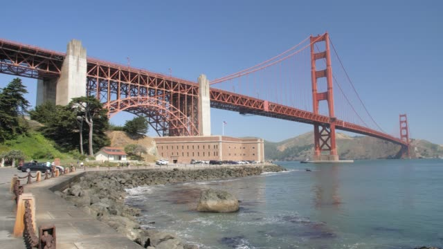 wide shot of the golden gate bridge from fort point, san francisco, california, united states of america, north america - golden gate bridge stock-videos und b-roll-filmmaterial