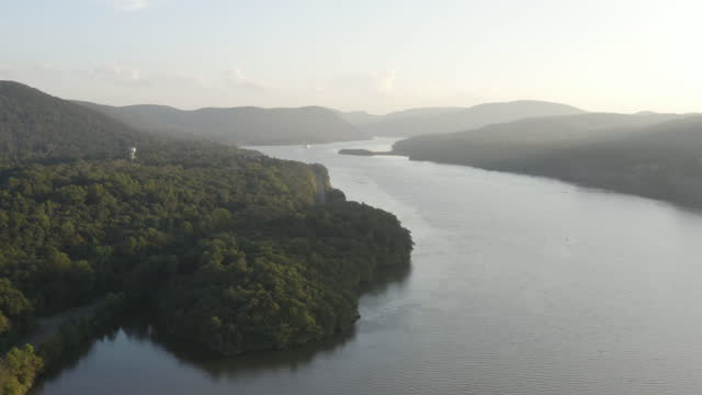 wide shot of the hudson river from above the arden point - west point new york stock videos & royalty-free footage