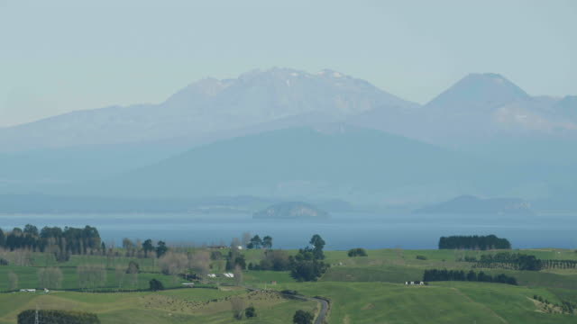 wide shot of the lake taupo - ngauruhoe stock videos & royalty-free footage