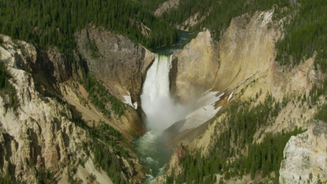 wide shot of the lower yellowstone falls - lower yellowstone falls stock videos & royalty-free footage