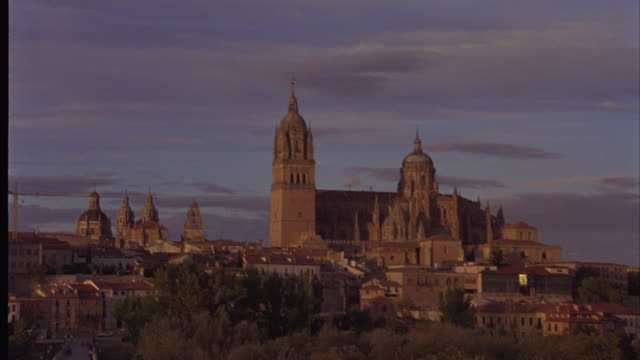 Wide shot of the New Cathedral Tower in Salamanca.