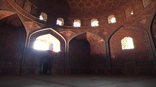 wide shot of the octagonal dome chamber and circular dome of the safavid era shah mosque, with its colourful tiles and recessed arches and... - octagon stock videos & royalty-free footage
