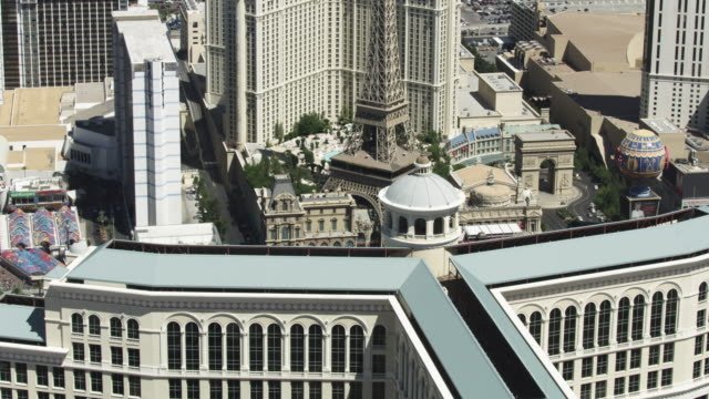 wide shot of the paris las vegas casino and hotel - paris las vegas stock videos & royalty-free footage