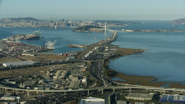 wide shot of the port of oakland - san francisco oakland bay bridge stock videos and b-roll footage