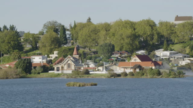 wide shot of the st. faiths church in rotorua - rotorua stock videos and b-roll footage