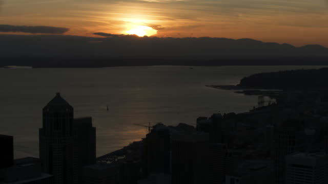 Wide shot of the sun setting over the Olympic Peninsula