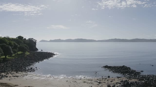 wide shot of the teti bay from the waitangi treaty grounds - bay of islands new zealand stock videos & royalty-free footage