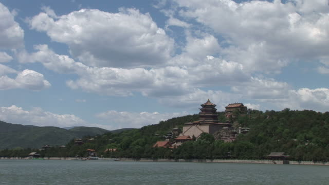 Wide Shot of The Tower of Buddhist Fragrance in Summer Palace Beijing China