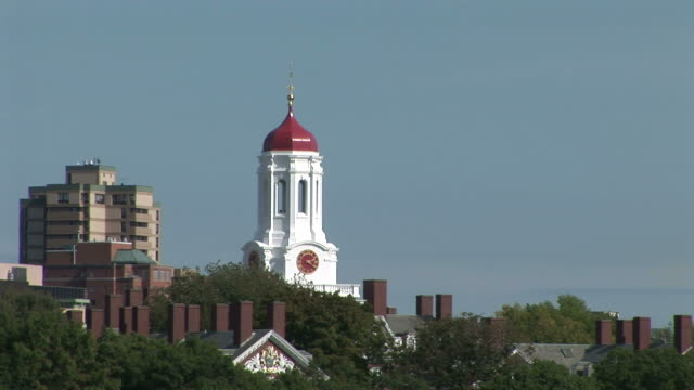 wide shot of the tower of harvard university in boston united states - harvard university stock videos & royalty-free footage