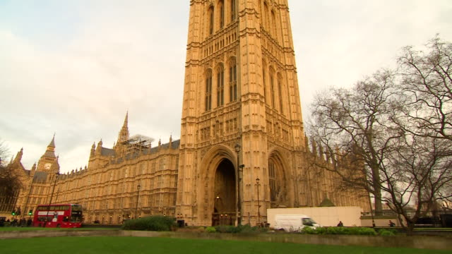 Wide shot of the Victoria Tower from College Green at the Palace of Westminster London