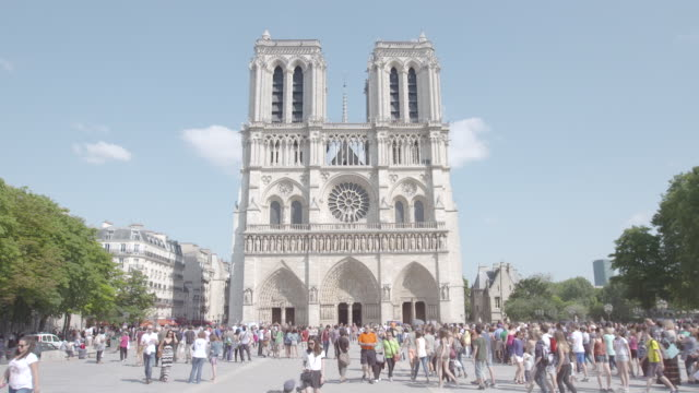 Wide shot of the western facade of Notre-Dame de Paris in Paris, France