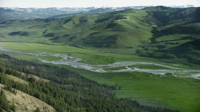 wide shot of the yellowstone river appearing from above a mountain - flowing stock videos & royalty-free footage