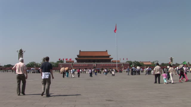 wide shot of tiananmen square gate in beijing china - tiananmen square stock videos and b-roll footage