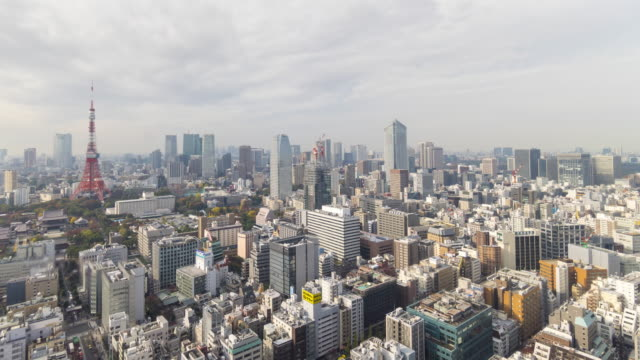 wide shot of tokyo skyline time lapse - overcast stock videos & royalty-free footage