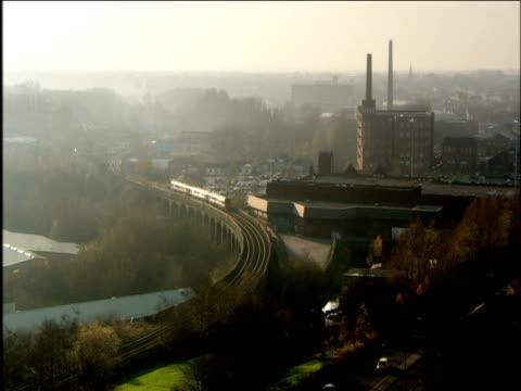 wide shot of train rolling through ashton-under-lyne lancashire - northwest england stock videos and b-roll footage