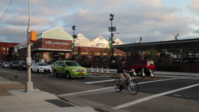 wide shot of whole foods market in brooklyn new york - whole foods market stock videos and b-roll footage