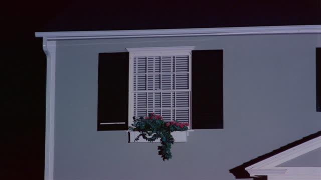 wide shot of window of suburban house with window box at night / lights turning on inside house / lights turning off / santa barbara, california - window box stock videos & royalty-free footage