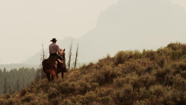 wide shot of young man horseback riding near mountains / idaho, united states - idaho stock videos & royalty-free footage