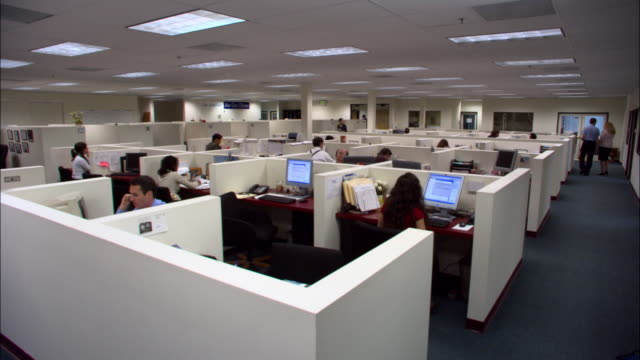 wide shot office workers working in cubicles and empty cubicles on office floor / los angeles, california - office partition stock videos & royalty-free footage