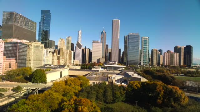 Wide shot over Grant Park toward Chicago Skyline